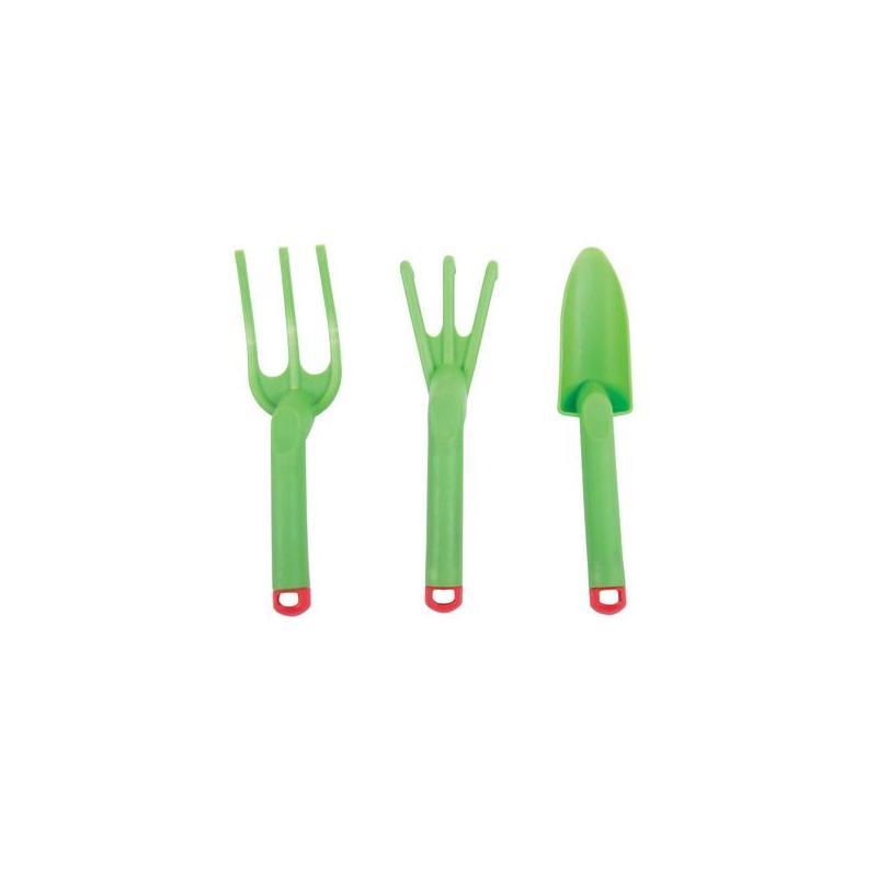 Bigjigs Toys Zahradní set nářadí plastový zelený 3ks