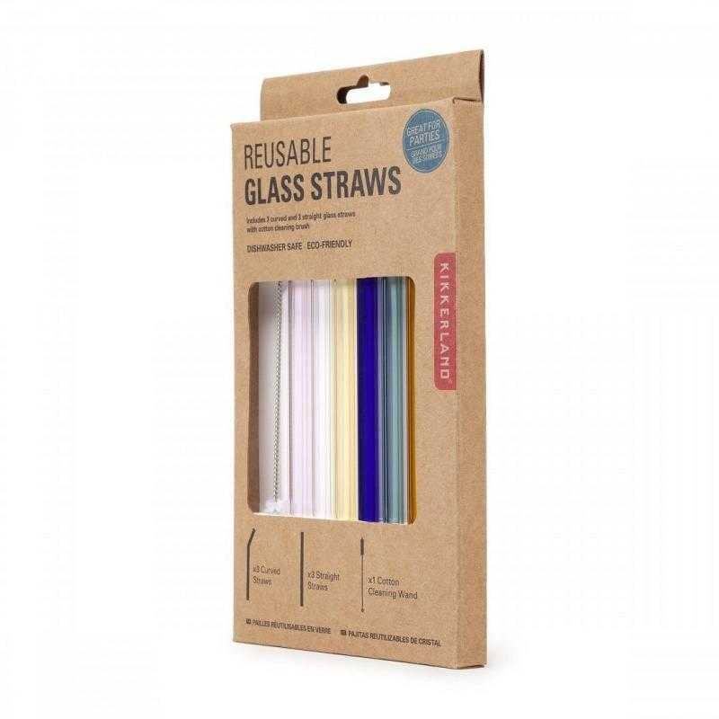 Kikkerland Skleněná brčka s čistícím kartáčkem 6 ks - barevná