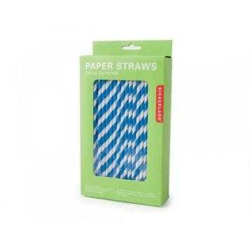 Kikkerland Papírová brčka Modro-Bílá 144 ks
