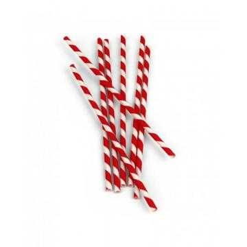 Kikkerland Papírová brčka Červeno-Bílá 144 ks