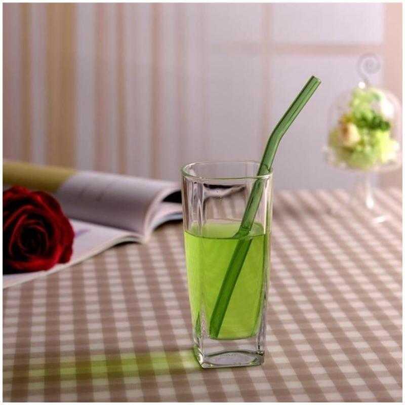 Zahnuté skleněné brčko - zelené