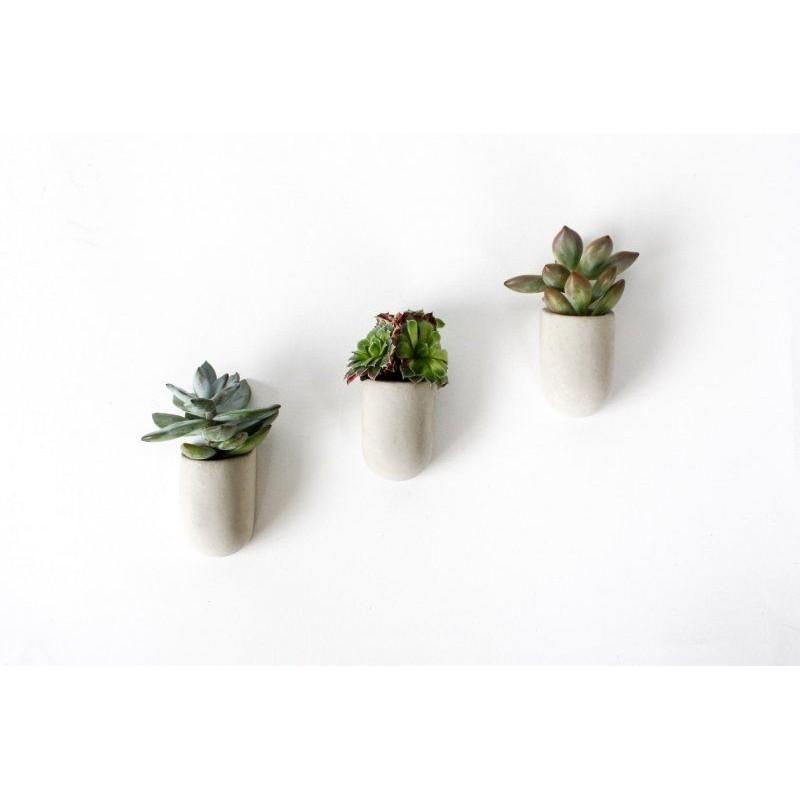 Magnetické betonové květináčky - 3ks