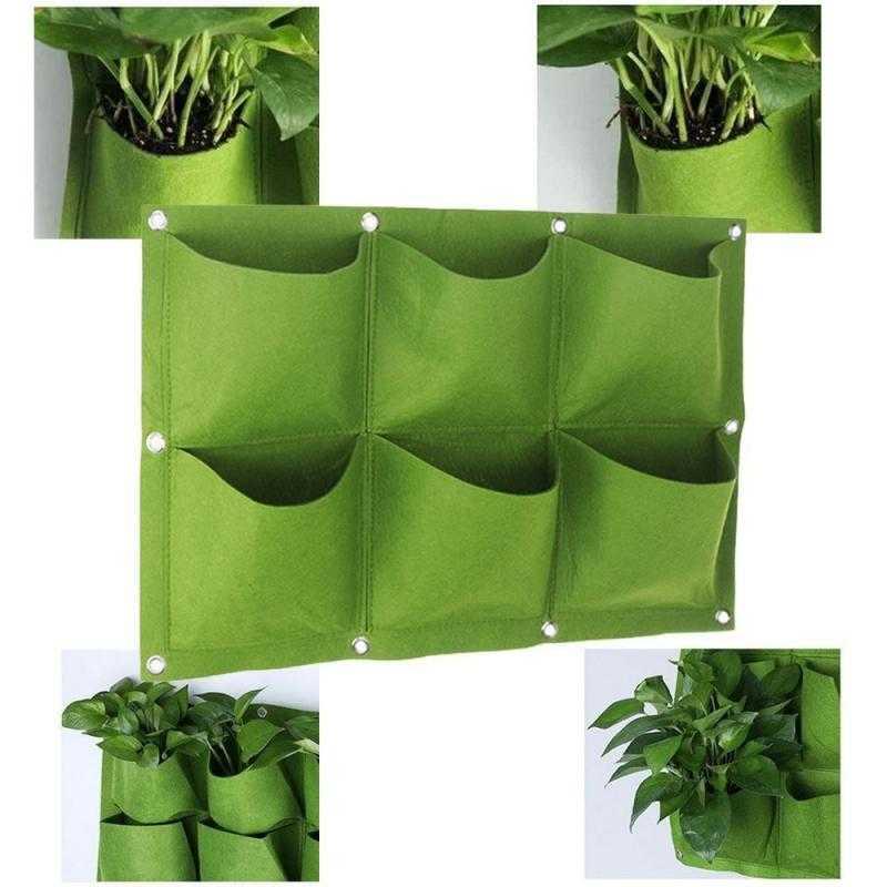 Závěsné textilní květináče - 6 kapes